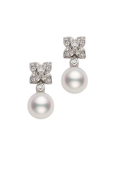 Mikimoto - Pearl & Diamond Stud