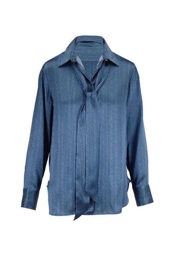 Kiton Blue Silk Printed Tie Neck Blouse