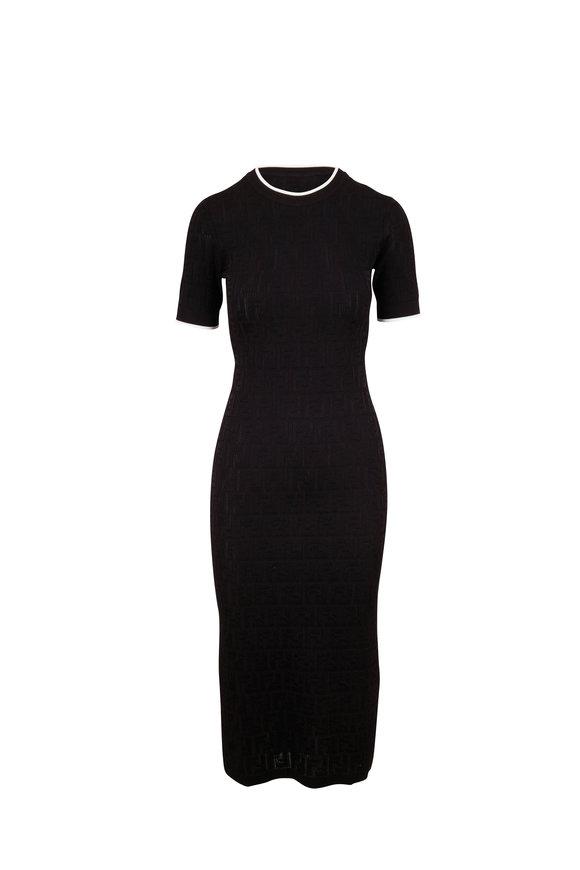 Fendi Black Short Sleeve FF Knit Dress