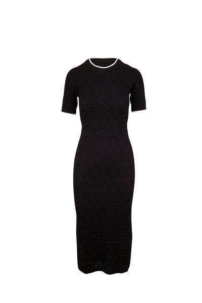 Fendi - Black Short Sleeve FF Knit Dress
