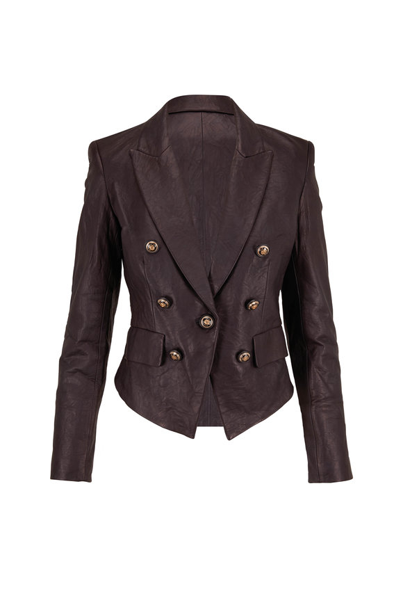 Veronica Beard Cooke Black Leather Dickey Jacket