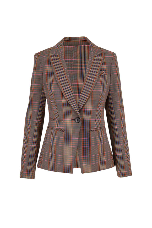 Veronica Beard Gia Multi Plaid Single Button Dickey Jacket