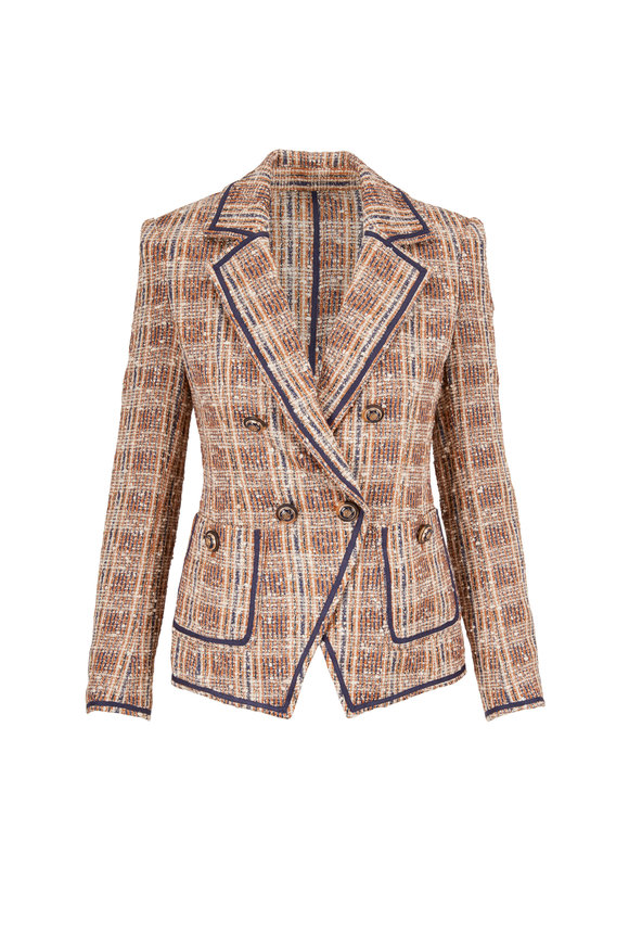 Veronica Beard Theron Brown Multi Tweed Double-Breasted Jacket