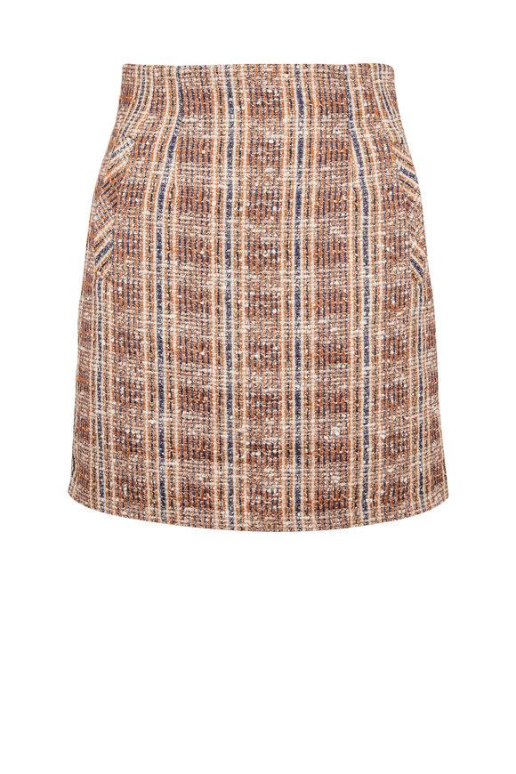 Veronica Beard Roman Brown Multi Tweed Mini Skirt