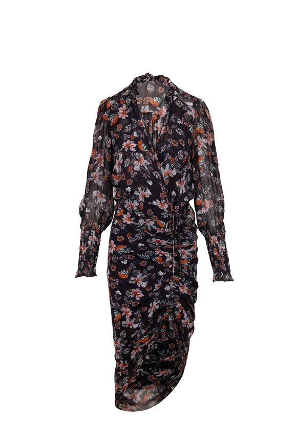 Veronica Beard Shia Black Multi Long Sleeve Dress