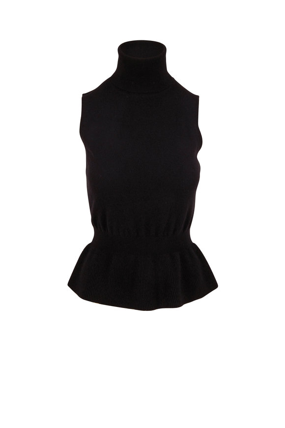 Veronica Beard Noor Black Cashmere Sleeveless Turtleneck