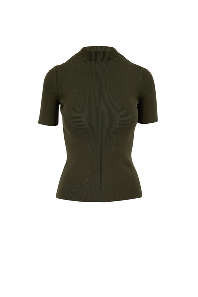 Oscar de la Renta - Olive Green Stretch Silk Rib Knit Top
