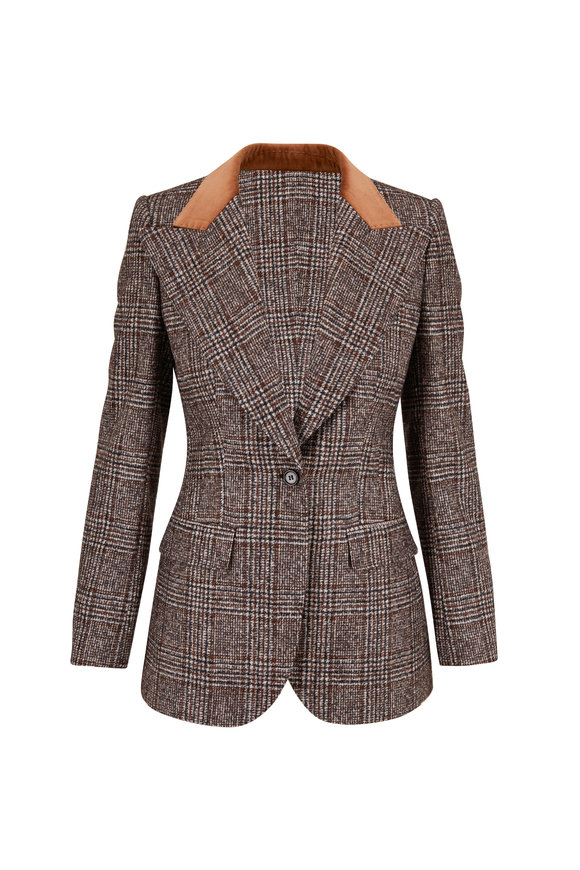 Dolce & Gabbana Brown Tartan Plaid Peak Lapel Jacket
