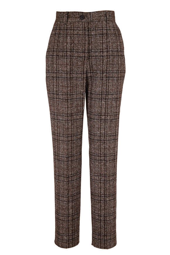 Dolce & Gabbana Gray Tartan Plaid Straight Leg Ankle Pant