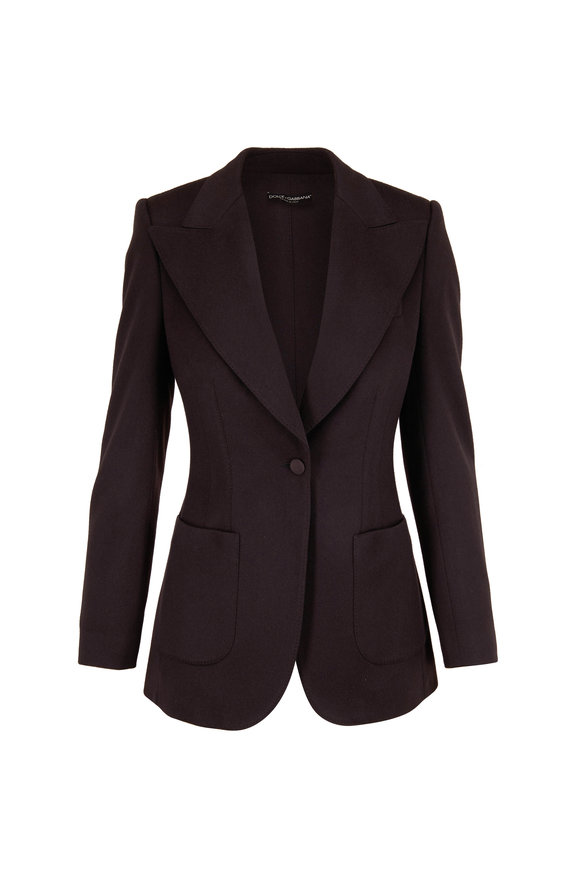 Dolce & Gabbana Deep Brown Cashmere Single Button Blazer
