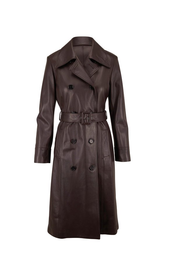 Dolce & Gabbana Deep Brown Leather Double-Breasted Trench Coat