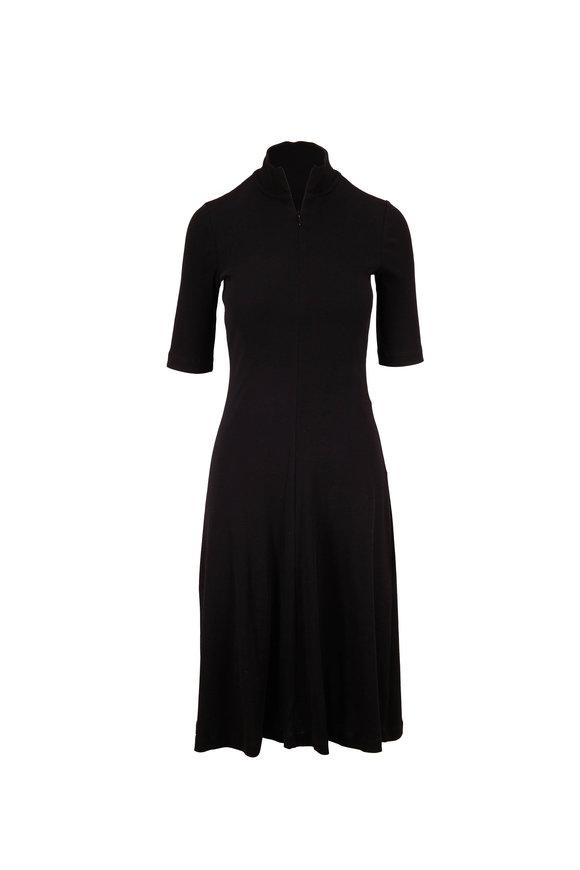 Rosetta Getty Black Short Sleeve Turtleneck Knit Dress