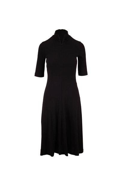 Rosetta Getty - Black Short Sleeve Turtleneck Knit Dress