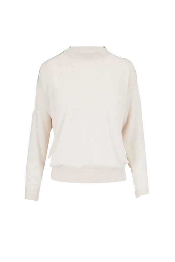 Brunello Cucinelli Warm White Fine Gauge Cashmere Sweater