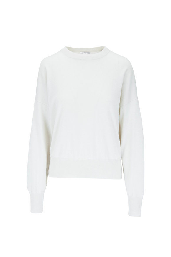 Brunello Cucinelli Warm White Fine Gauge Cashmere Crewneck Sweater