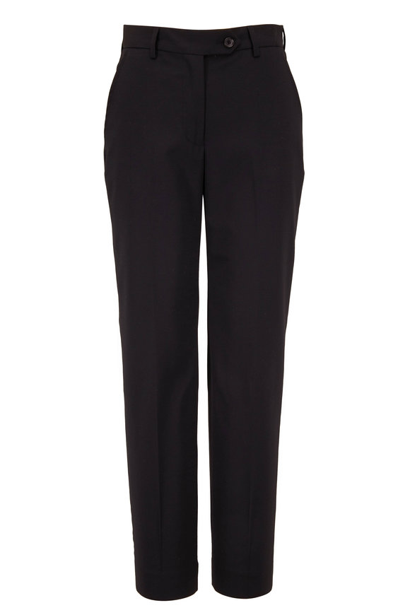 Kiton Black Stretch Wool Front Pleat Pant