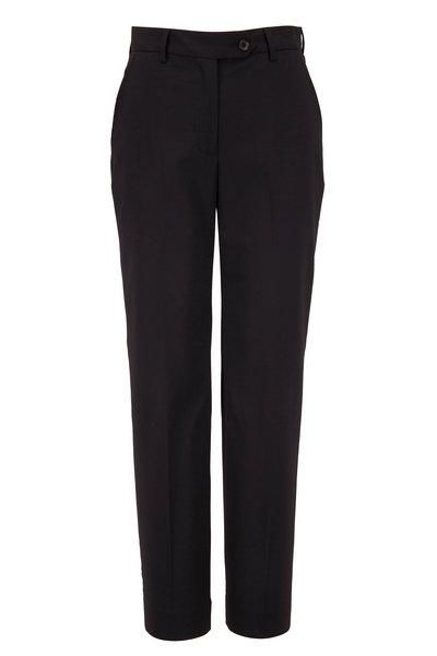 Kiton - Black Stretch Wool Front Pleat Pant