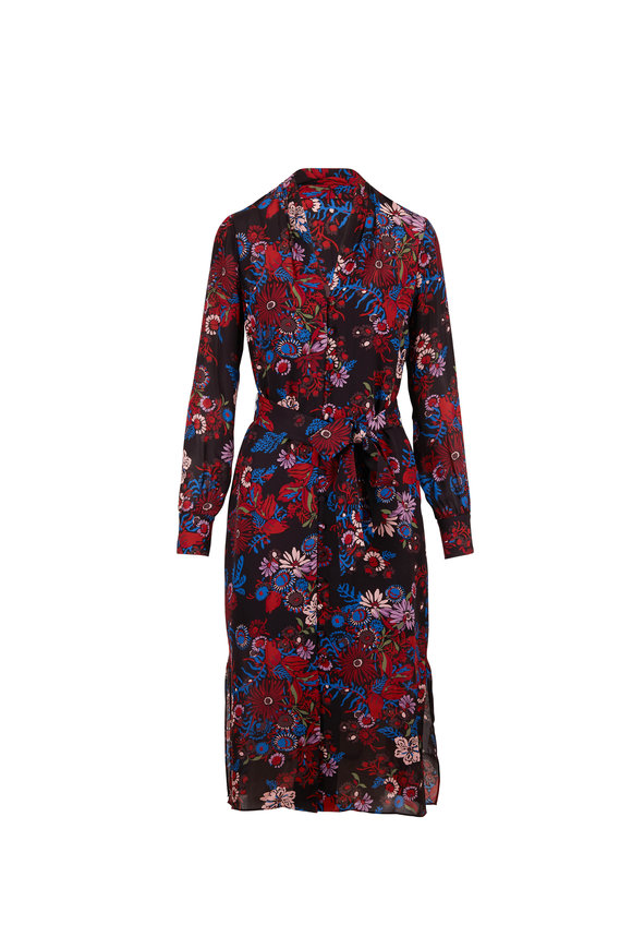 Veronica Beard Leanne Black Multi Floral Long Sleeve Dress