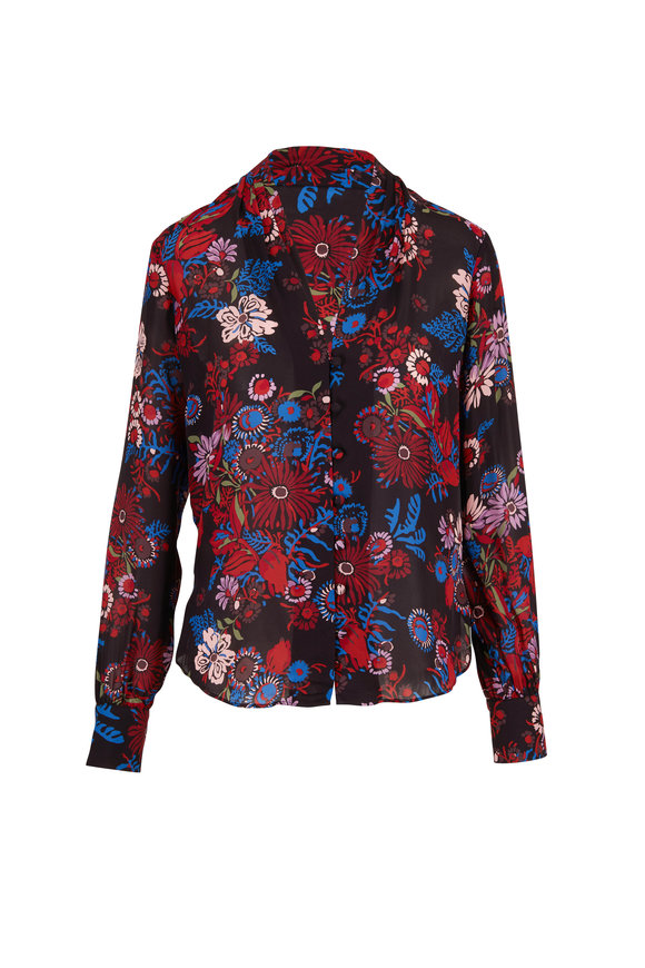 Veronica Beard Angelica Black Multi Floral Print Blouse