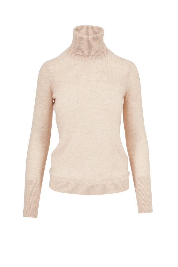 Veronica Beard Kressy Oatmeal Cashmere Turtleneck Sweater