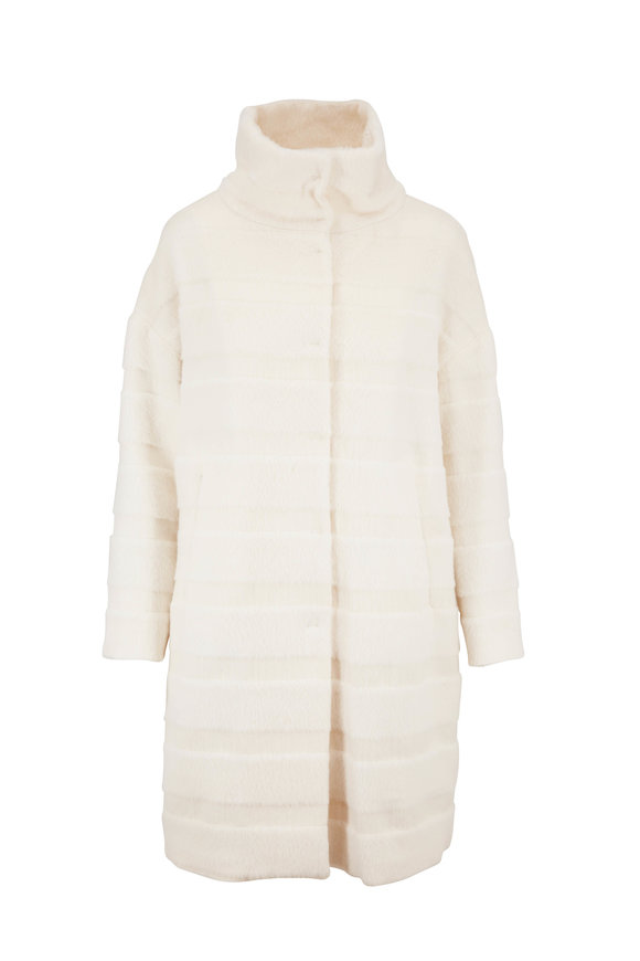 Herno White Alpaca & Wool Horizontal Stripe Coat