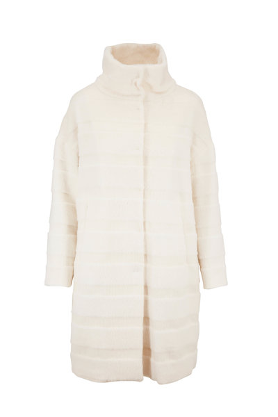 Herno - White Alpaca & Wool Horizontal Stripe Coat