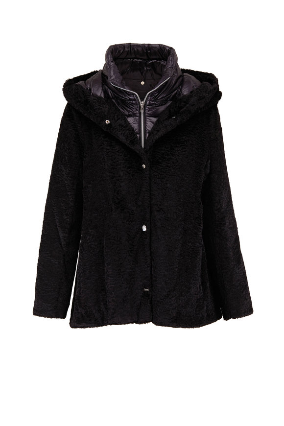 Herno Black Crushed Velvet Puffer Dickey Coat