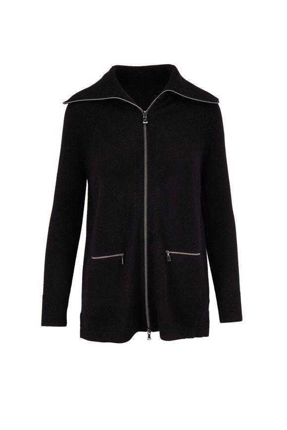 Bogner Renie Black Wool Front Zip Knit Cardigan