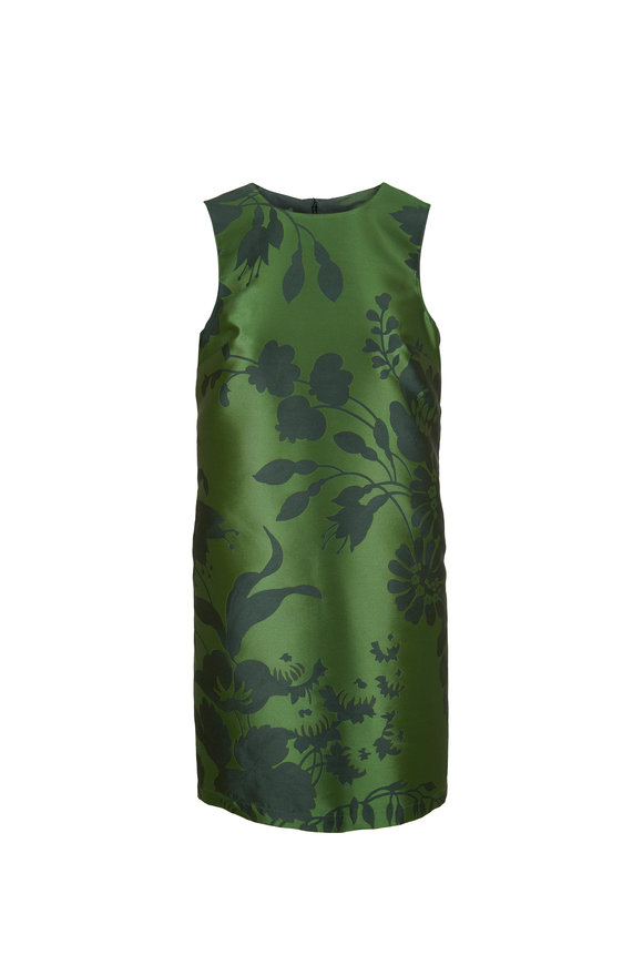 Carolina Herrera Green Multi Printed Sleeveless Shift Dress