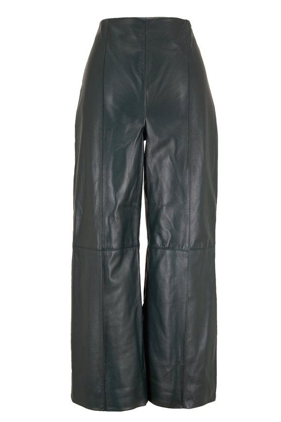 Oscar de la Renta Hunter Green Leather Wide Leg Crop Pant