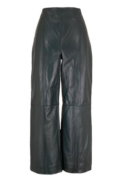Oscar de la Renta - Hunter Green Leather Wide Leg Crop Pant