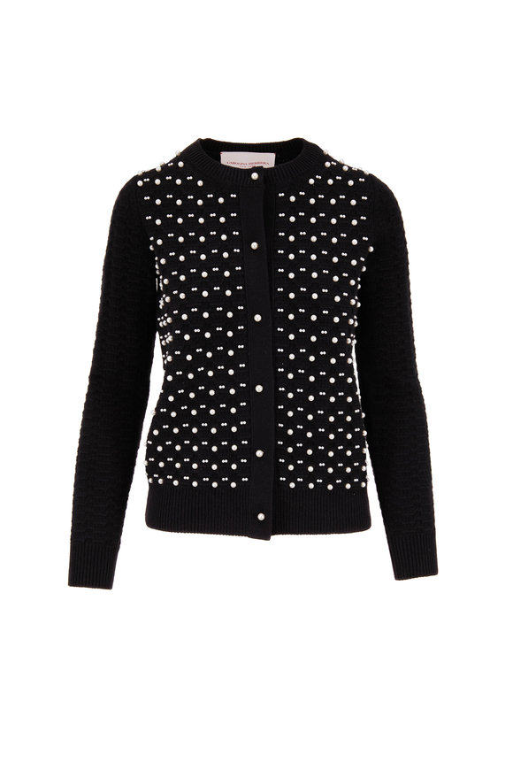 Carolina Herrera Black Wool & Cashmere Pearl Embroidered Cardigan