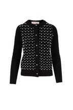 Carolina Herrera - Black Wool & Cashmere Pearl Embroidered Cardigan