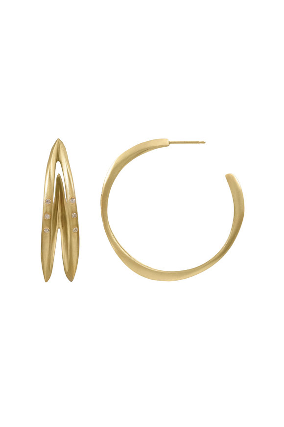 Sandy Leong 18K Recycled Yellow Gold Double Halo Hoops