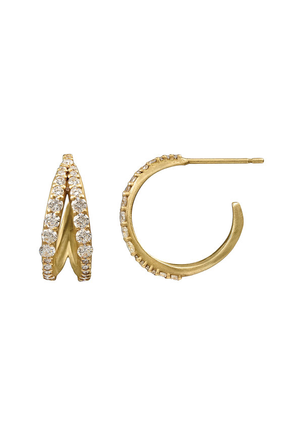 Sandy Leong 18K Recycled Yellow Gold Petite Anniversary Hoops