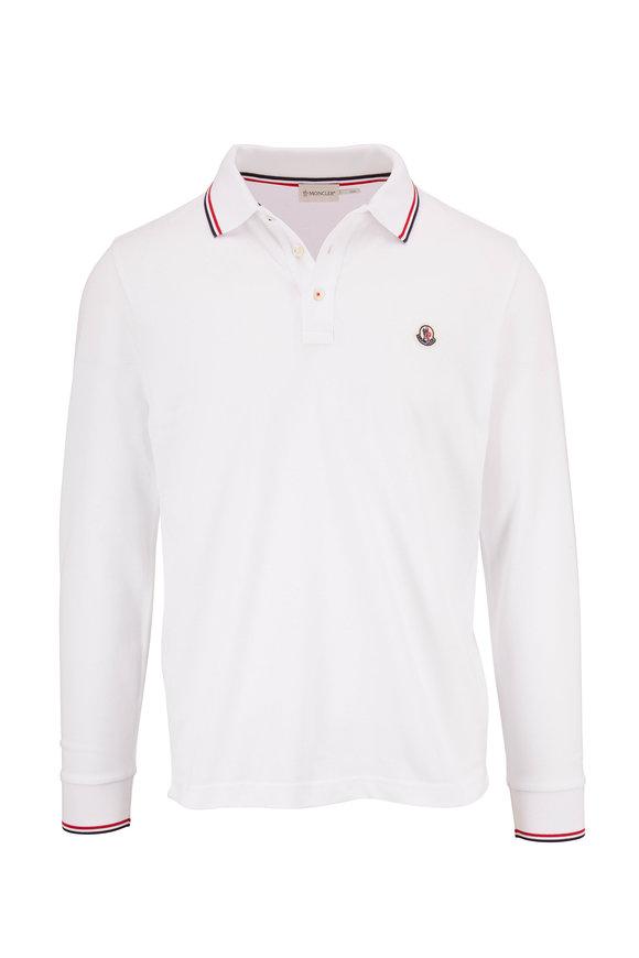 Moncler Navy Long Sleeve Piqué Logo Polo