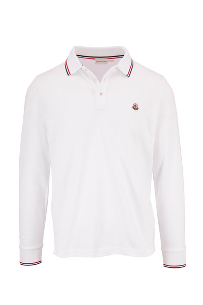 Moncler - Navy Long Sleeve Piqué Logo Polo