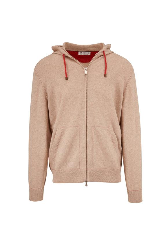 Brunello Cucinelli Oatmeal Wool & Cashmere Front Zip Hoodie