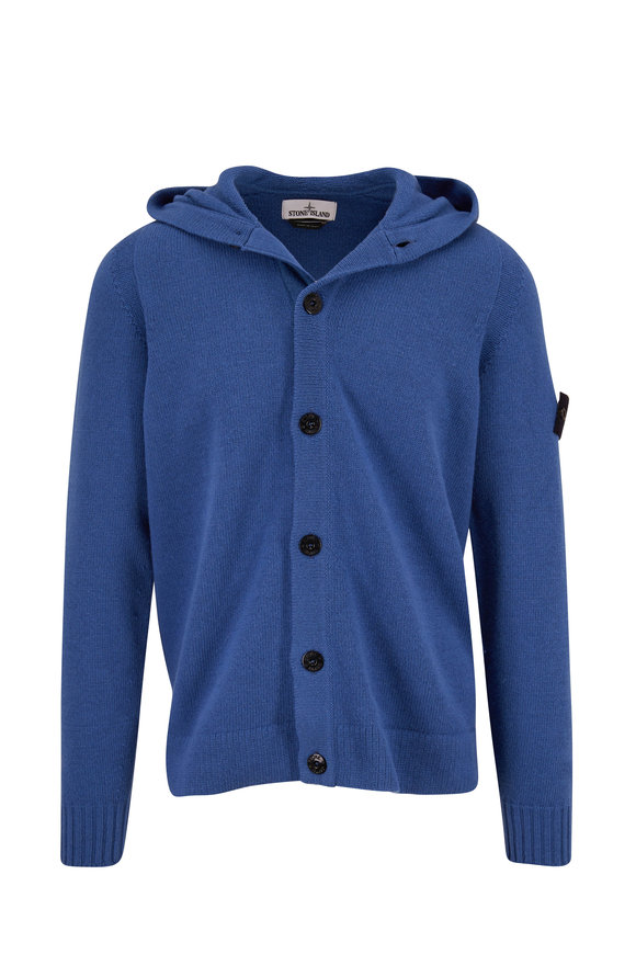 Stone Island Royal Blue Wool Blend Front Button Hoodie