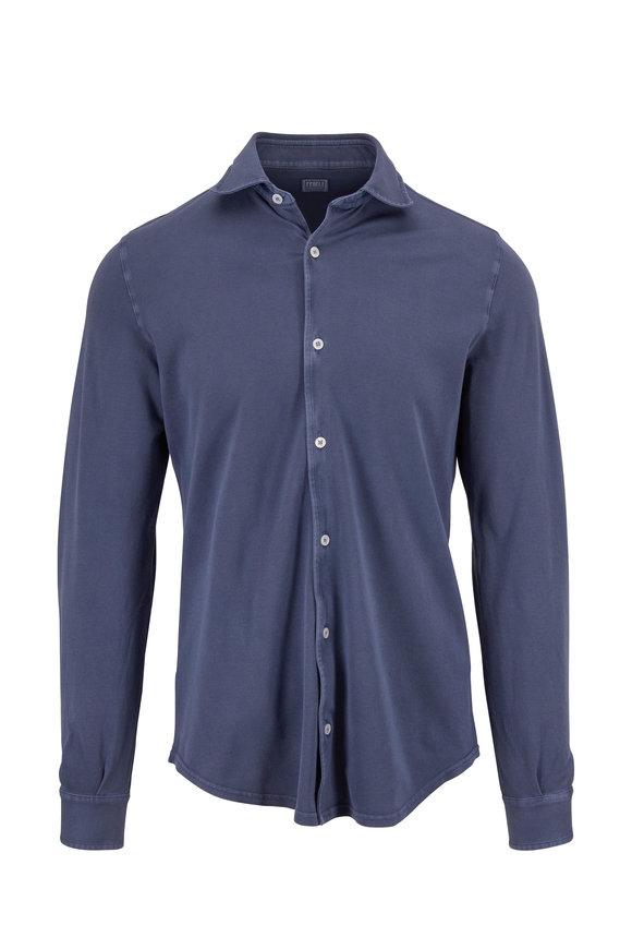 Fedeli Medium Blue Piqué Sport Shirt