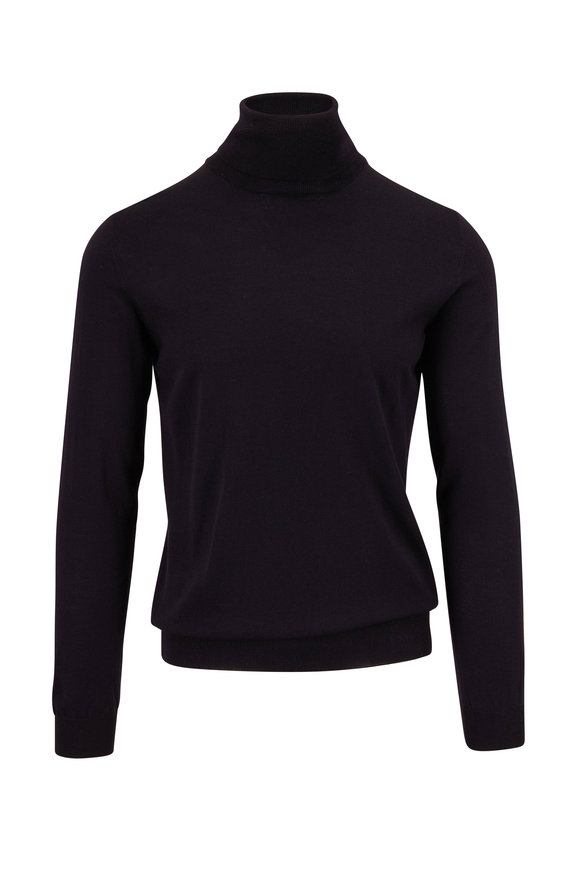 Zanone Navy Flexwool Turtleneck Pullover