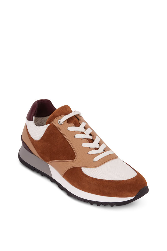 John Lobb Foundry Tan Suede, Leather & Mesh Trainer