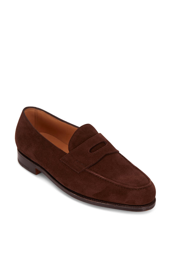 John Lobb Lopez Dark Brown Suede Penny Loafer