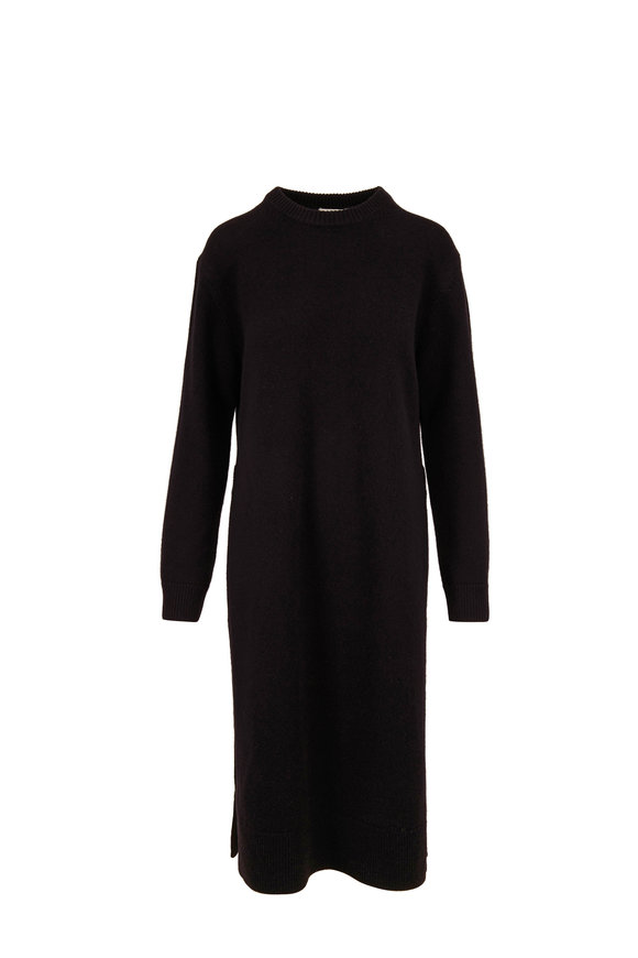 CO Collection Black Wool & Cashmere Long Sleeve Knit Dress