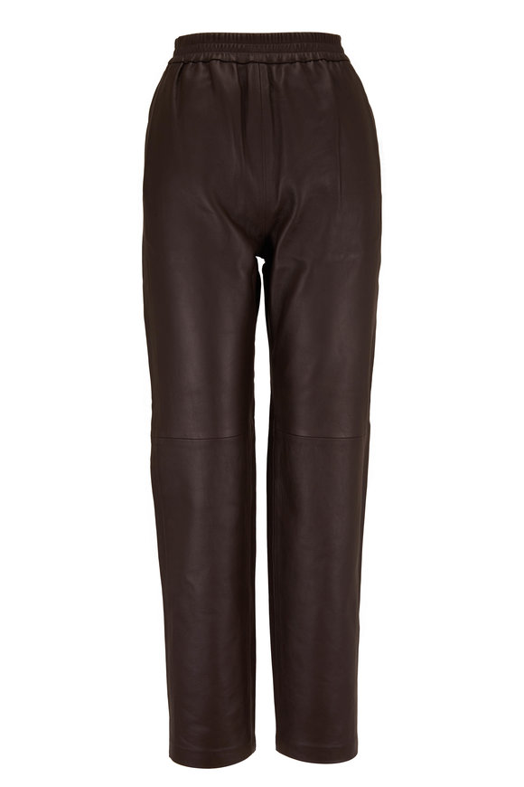 CO Collection Brown Leather Straight Leg Jogger Pant