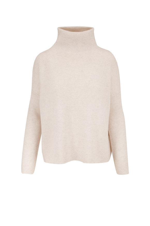 Vince Heather White  Wool & Cashmere Funnel Neck Sweater