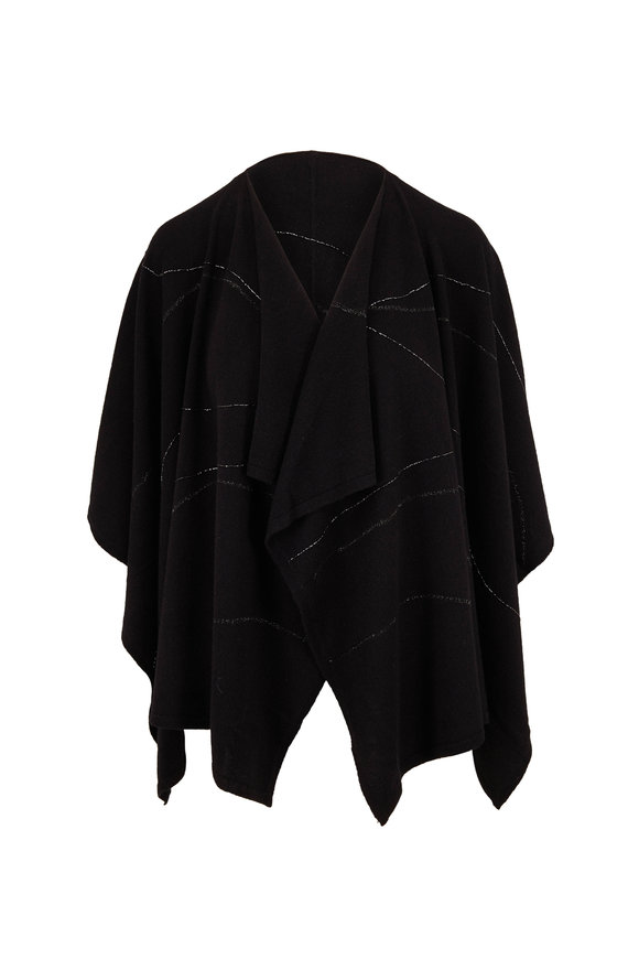 Lafayette 148 New York Black Cashmere Embroidered Wrap