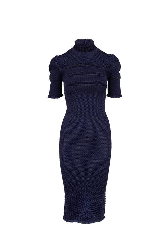 Fendi Navy Silk Crepe Saxophone Knit Dress