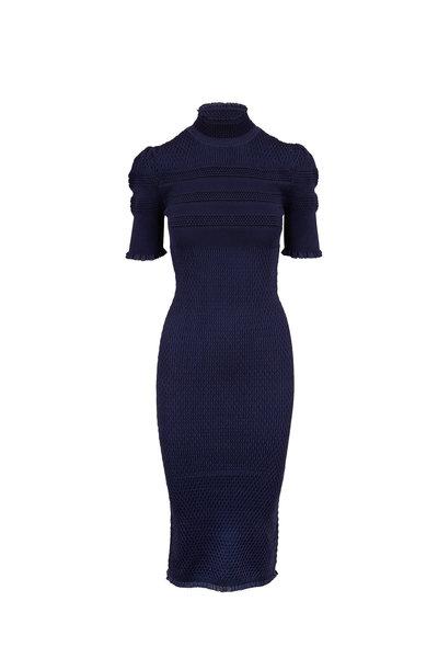 Fendi - Navy Silk Crepe Saxophone Knit Dress