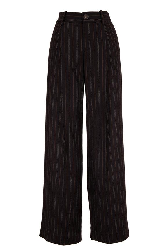 Vince Black Flannel Striped Wide Leg Pant